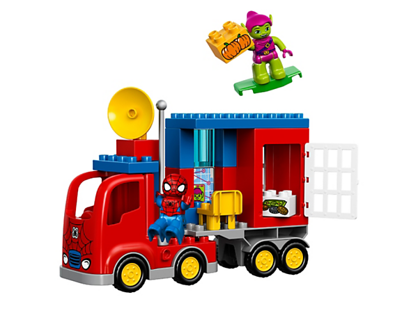 Have endless Spider-Man Spider Truck Adventures with 2 LEGO® DUPLO® figures and a buildable truck with radar, tracking screen and jail cell.