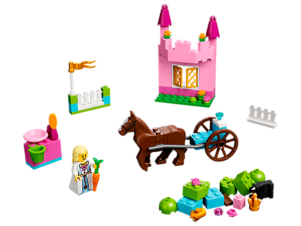 Build a fairy tale world with My First LEGO® Princess featuring a horse, carriage, grooming station and pretty pink castle!