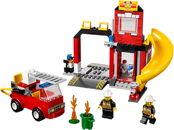 Create a colorful LEGO® Juniors Fire Emergency scene with Easy to Build fire truck, fire station, 2 firefighters, trash can and more.