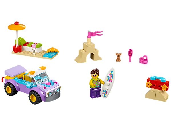 <p>LEGO® Juniors Beach Trip has everything for a day by the sea including an Easy to Build car, minifigure, surfboard, dog and a lounger.</p>
