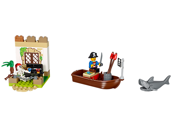 """<p>Follow the map on a LEGO® Juniors Pirate Treasure Hunt, with a boat, pirate minifigure, Easy to Build fortress, shark and a treasure chest.<span style=""""color: rgb(255, 0, 0);""""><br /></span></p>"""