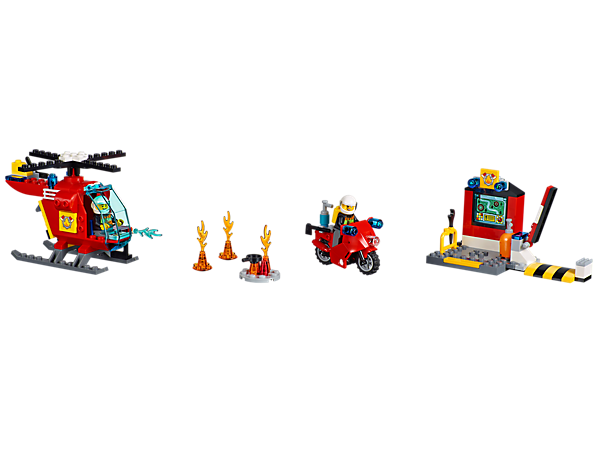 <p>An Easy to Build helicopter, motorbike, fire base station and 2 firefighter minifigures, all in the handy LEGO® Juniors Fire Suitcase.</p>