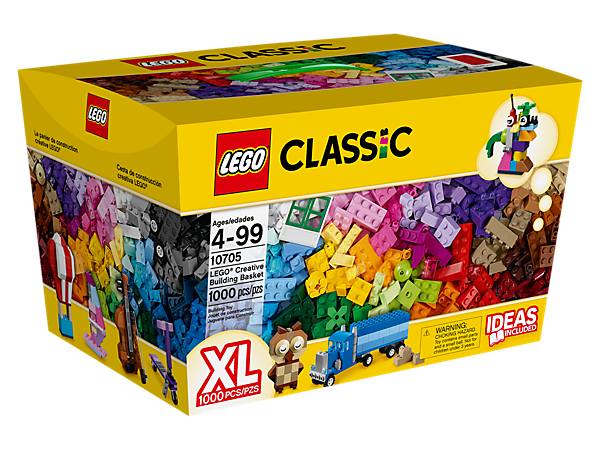 Kick-start your imagination with the LEGO® Creative Building Basket, with more than 950 bricks in 42 colors, building inspiration and special elements to fuel the fun.