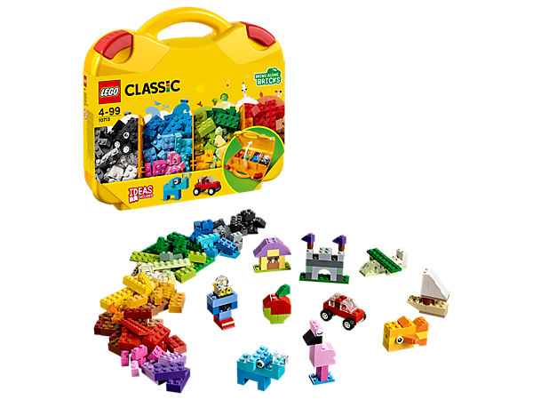 Have fun sorting and carrying your LEGO® pieces in this convenient LEGO Classic Creative Suitcase, including a colorful selection of bricks, eyes, wheels and shapes.
