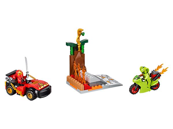 Defend the golden snake staff from the motorbike-riding snake villain Lasha in Kai's car, including 2 minifigures, Ninja sword and a golden snake staff shrine with a ramp.