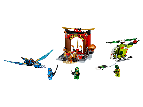 Get Lloyd to the Sword of Fire first and defend it from the snake villain with help from Jay and his blue dragon, including 3 minifigures, helicopter, temple with obstacles and more.