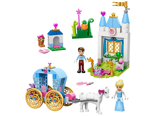 Take Cinderella in her magic horse-drawn carriage to dance with the dashing Prince Charming at the castle ball, including two mini-dolls, beauty chest, puppy and other accessories.