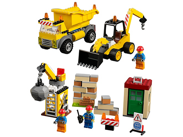 Join the crew at the construction site, featuring an Easy to Build dump truck, digger and demolition crane, plus a building under construction and three minifigures.