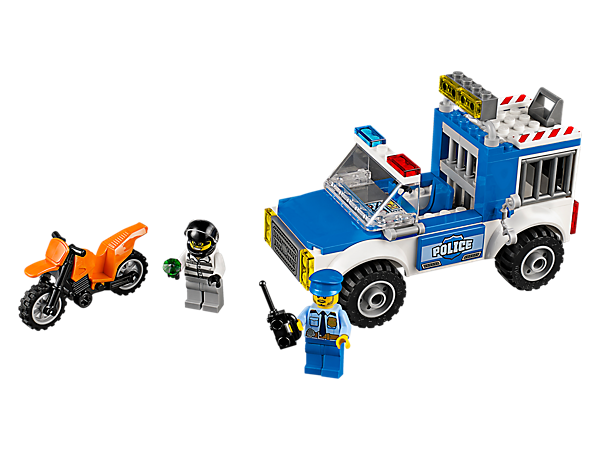 <p>Jump in the Police Truck and chase down the crook, featuring an Easy to Build police truck with jail cell, plus a motorbike, roadblock and two minifigures.</p>