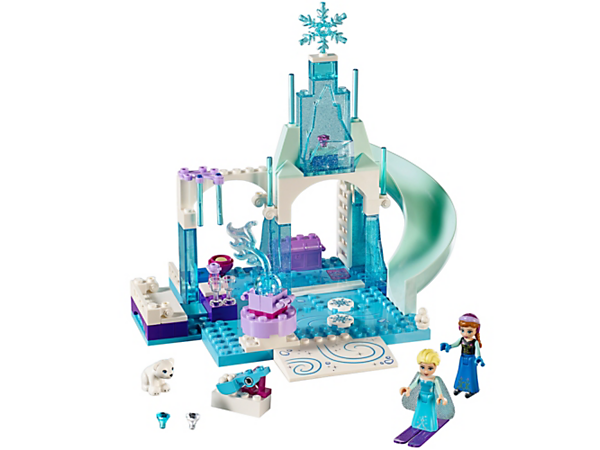 Join Disney Frozen's Anna and Elsa in a wonderful winter playground, featuring an Easy to Build ice palace with a slide, snowball catapult, polar bear cub and 2 mini-doll figures.