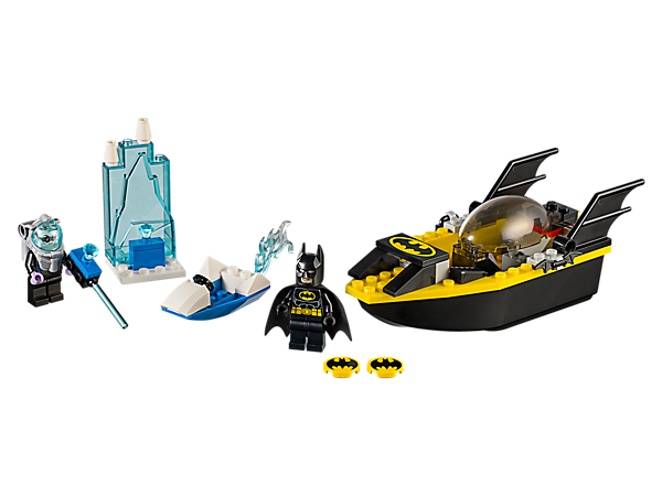 Help Batman™ in his Easy to Build floating Batboat as he battles Mr. Freeze™ to keep Gotham safe and warm, including an ice speeder, ice jail and two minifigures.