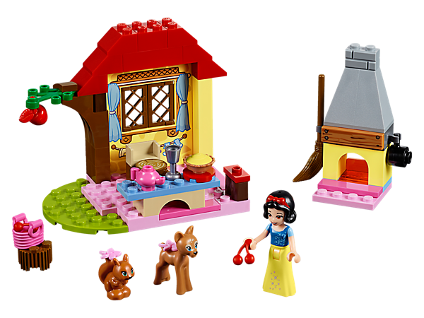 Spend time with Disney's Snow White and her animal friends at her Forest Cottage, featuring an oven with chimney, tree with fruit, picnic table, mini-doll figure and 2 animal figures.