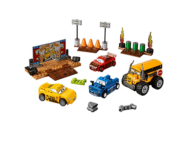 Head to the Disney•Pixar Thunder Hollow Crazy 8 Race, with flaming tires and breakable road barriers for demolition derby action! Includes 4 Easy to Build LEGO® Juniors characters.