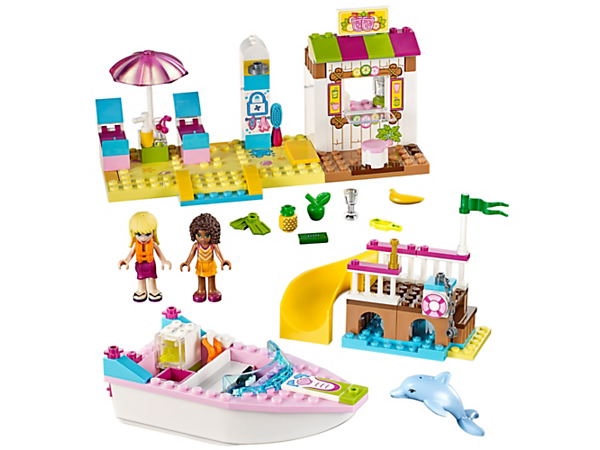 It's time for some fun in the sun, featuring a beach scene with loungers and shower, buildable speedboat, dock with slide, smoothie stand, plus two mini-doll figures and a dolphin figure.