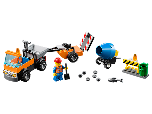 Fix the city roads with this LEGO® Juniors Road Repair Truck set, featuring a truck with trailer, spinning cement mixer, tool elements, trashcan, barrier and a minifigure.