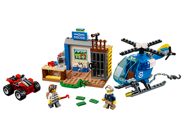 Jump in the police helicopter for a Mountain Police Chase and catch the crook before he escapes on his quad bike! Set includes a police station with jail cell and a safe with opening front.