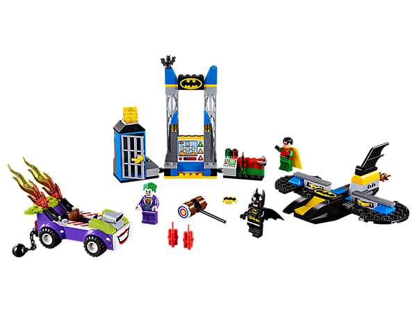 Lift off and face The Joker™ with Batman™ and Robin™ in a Batcave Attack, featuring a Batwing jet with stud shooter, hotrod with flame elements, Batcave, jail cell and control center.
