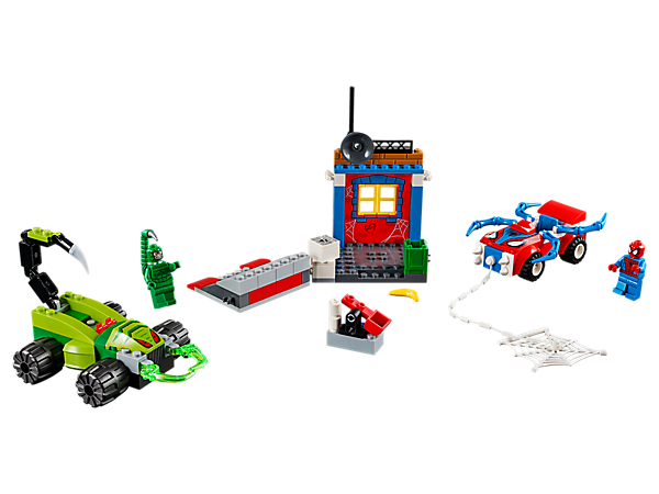 Help Spider-Man stop the Scorpion in this exciting LEGO® Juniors Street Showdown set, featuring 2 vehicles, alley wall, ramp, flexible web 'string', big web and a buildable catapult.