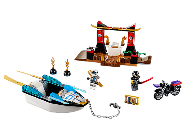Ninja up and get to the map before Chopper Maroon! Set includes a temple with obstacles, floating boat with chain and hook, bike, treasure map and 2 minifigures.