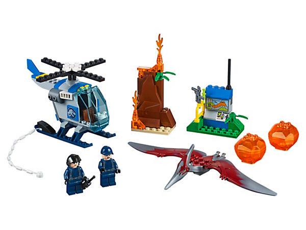 Help rescue the tracker in this thrilling LEGO® Juniors Pteranadon Escape set, featuring a helicopter with Quick Start chassis, buildable Pteranadon figure, plus 2 minifigures.