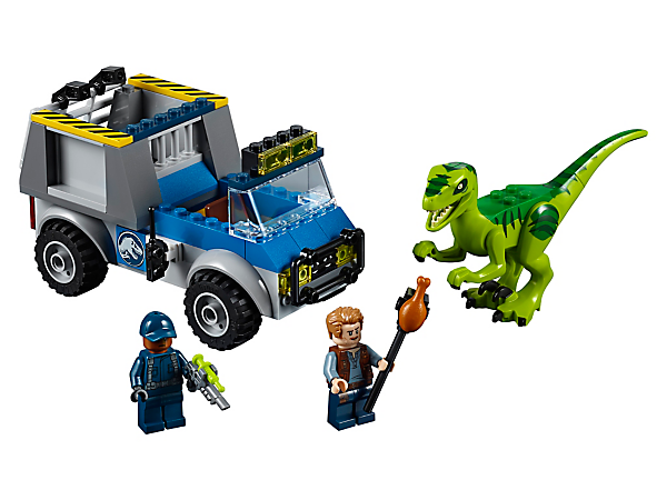 Tempt the hungry Raptor into the cage with this fun LEGO® Juniors Raptor Rescue Truck set, featuring a truck with Quick Start chassis, opening cage, 2 minifigures and a Raptor figure.