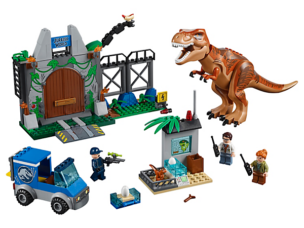 Protect the precious eggs in this thrilling LEGO® Juniors T. rex Breakout set, featuring a posable T. rex, opening gate and a truck with Quick Start chassis, 3 minifigures and a baby dinosaur figure.