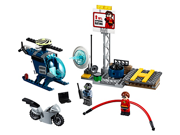 Help Elastigirl capture Screenslaver with this action-packed Elastigirl's Rooftop Pursuit set, featuring a rooftop build, helipad, helicopter and the Elasticycle, plus 2 minifigures.