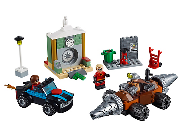 Race to the rescue with Mr. and Mrs. Incredible with this Underminer Bank Heist set, featuring a bank vault, street scene, Incredibile and Tunneler with spinning drill bits, plus 3 minifigures.