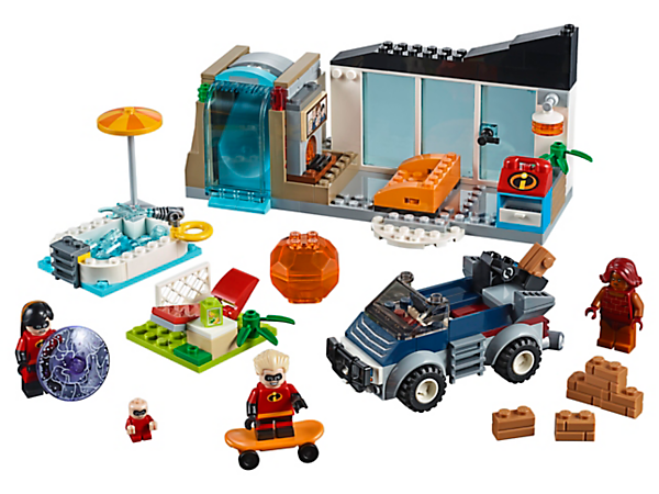 Speed into action with the Incredible Kids against Brick, with The Great Home Escape set, featuring a wall, waterfall, catapult chair, car with removable catapult, 3 minifigures and a baby figure.