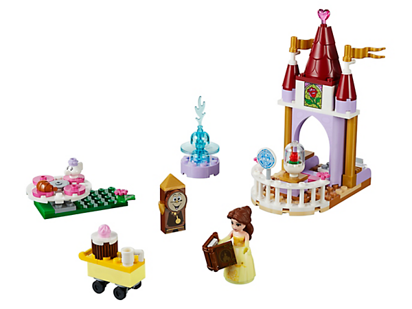 Have tea in the park before reading Disney Princess Belle's favorite story with her friends Chip, Mrs. Potts and Cogsworth, with a tower, spinning picnic table, trolley and a fountain.