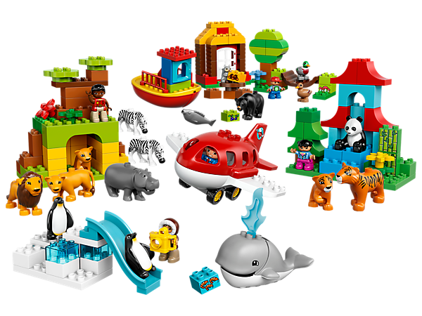 Travel between 4 continents by boat or plane to explore habitats and cultures—this set is bursting with 17 animals and 5 LEGO® DUPLO® figures from around the world.