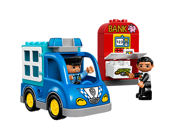 Speed off in the police van to catch the crook at the bank. Lock him up in the back of the van and make sure he can't escape!