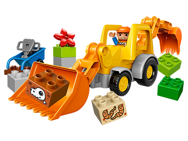 <p>See what you can dig up with the 2 big shovels on the LEGO® DUPLO® Backhoe Loader and move the special, posable arm system for construction fun all day long.</p>