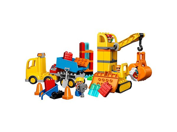 Bulldoze the construction site, bring supplies in the tipper truck, then hoist them in the crane with rotating cabin, posable arm and claw to construct your own building!