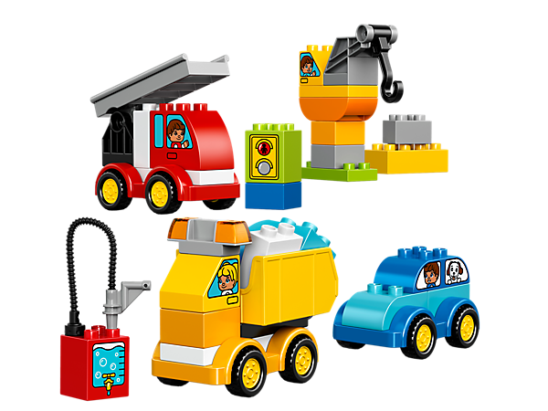 Get creative and use colorful bricks to build all kinds of LEGO® DUPLO® cars and trucks, then start your own stories with the special decorated bricks.