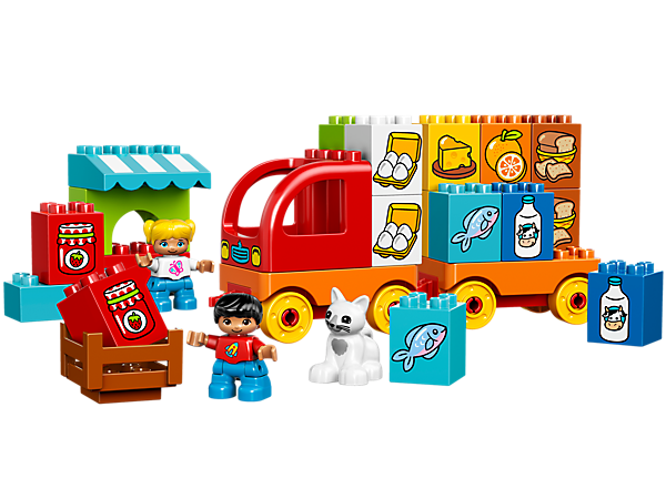 My First Truck with its market stall is easy to build and the perfect introduction to early matching skills, with 8 pairs of colored bricks decorated as food produce.