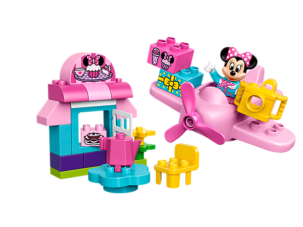Enjoy tea and cake in Minnie's Café with special pink cupcake delivery plane, opening window, decorated bricks as story starters and a LEGO® DUPLO® figure: Minnie Mouse.