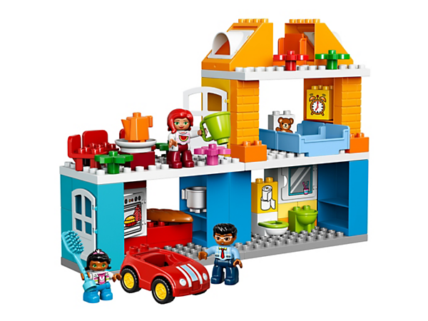 Learn about everyday life and routines at home in the LEGO® DUPLO® Family House with kitchen, bathroom, bedroom, child's room, roof terrace and car, plus three DUPLO figures.