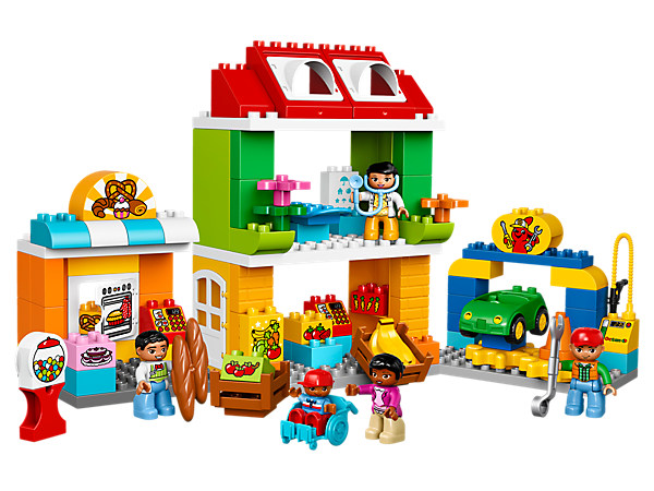 Play out everyday life in the LEGO® DUPLO® Town Square with a bakery, doctor, greengrocer, garage, car, plus five DUPLO figures.