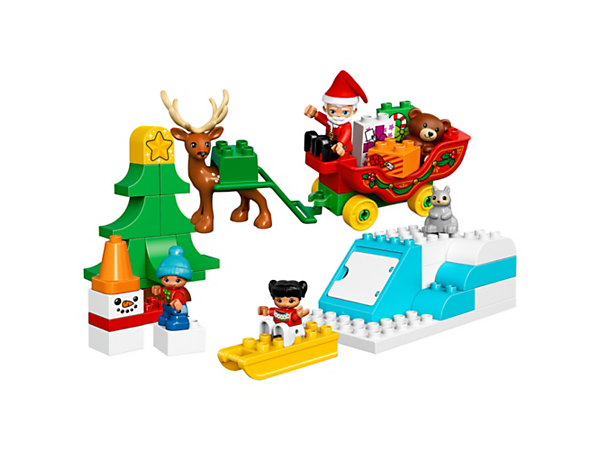 <p>Enjoy festive building fun with your toddler with the LEGO® DUPLO® Winter Holiday set, featuring Santa's sleigh, reindeer figure, fir tree, snowman, sledge and a buildable slope.</p>