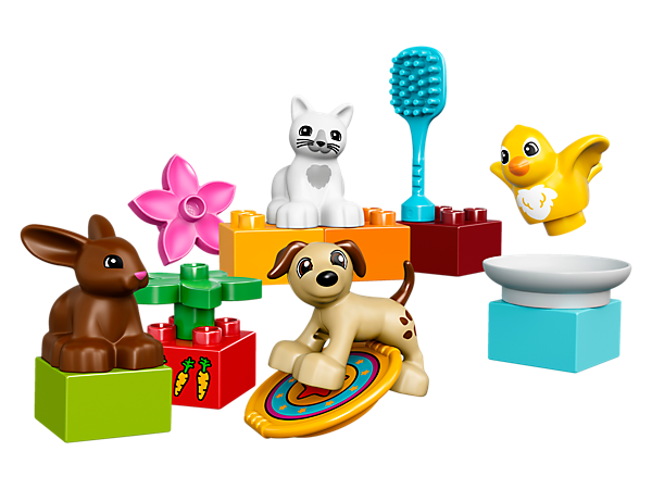 Learn about playing with and caring for family pets with these cute LEGO® DUPLO® animals—each has its own accessory element for playing, grooming or feeding.