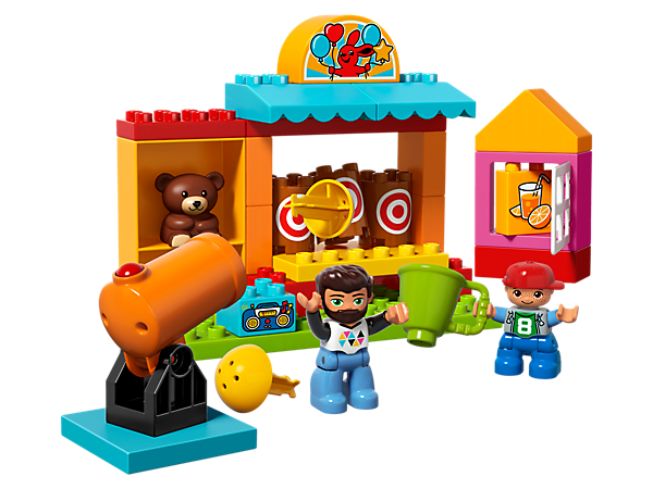 Build and play all day long with the LEGO® DUPLO® Shooting Gallery, including a shooting cannon, 3 targets, teddy bear prize, juice kiosk and 2 DUPLO figures.