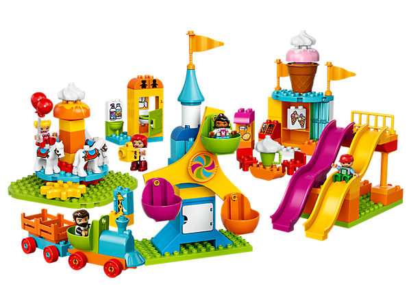Explore the LEGO® DUPLO® Big Fair with turning Ferris wheel, rotating carousel with gearwheel function, wavy slides, train, ice cream kiosk and a restroom.