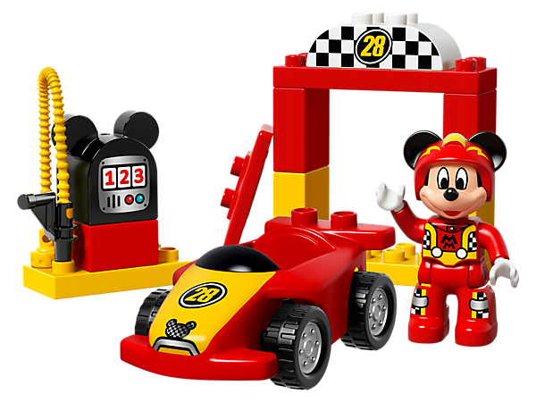 The Disney Mickey Racer set includes a buildable LEGO® DUPLO® car with spoiler, starting gate, and a Mickey-shaped gas pump for endless racing fun with Mickey Mouse.