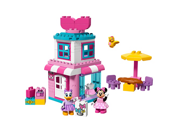Your child will love to build and play shop at the Disney Minnie Mouse Bow-tique with cash register, outside table and chairs, upstairs bedroom and 2 LEGO® DUPLO® figures.