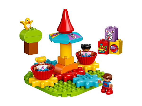 Turn the colorful LEGO® DUPLO® My First Carousel round and round to introduce basic cause and effect principles, while encouraging early construction and role-play skills.