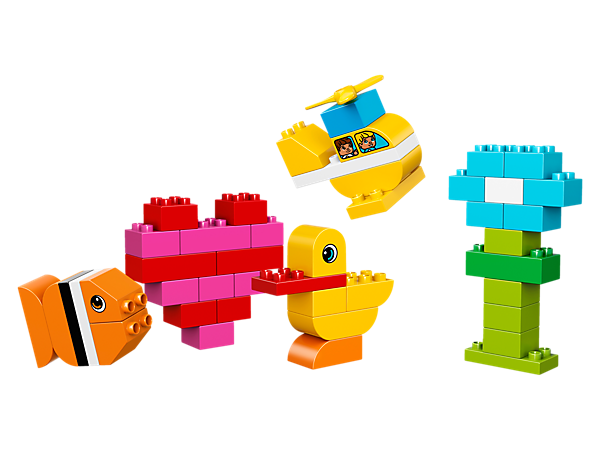 Encourage your toddler's creativity with this great selection of basic LEGO® DUPLO® bricks. A helicopter, a fish, a flower, a heart—what will they build today?