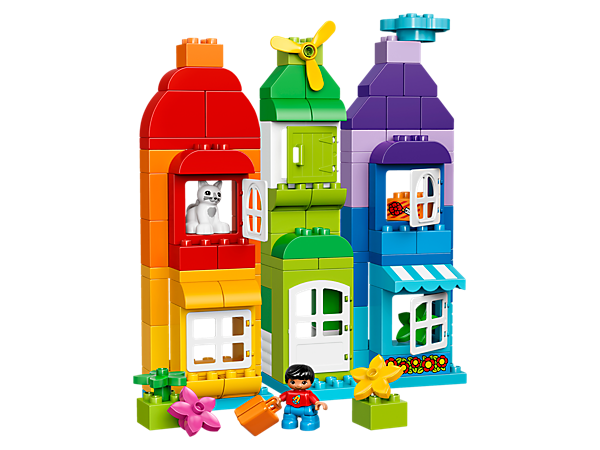 Encourage imaginative building with this huge selection of colorful LEGO® DUPLO® bricks, including opening windows and doors, a child DUPLO figure, plus a cat figure.