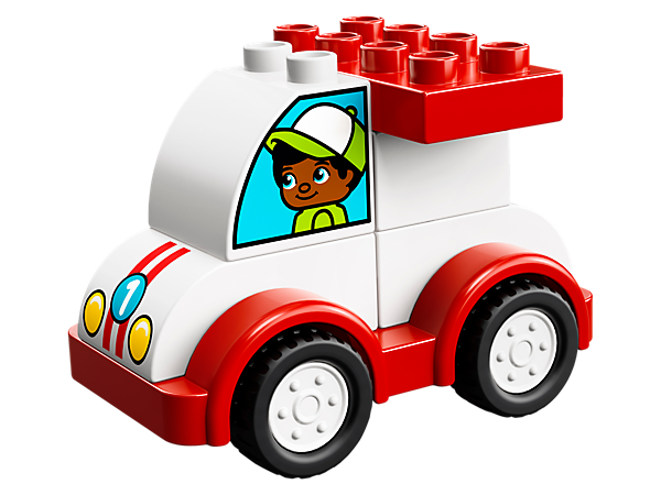 Toddlers will love racing around with this cool My First Race Car made from chunky LEGO® DUPLO® bricks, creating role-play stories and developing fine motor skills along the way.