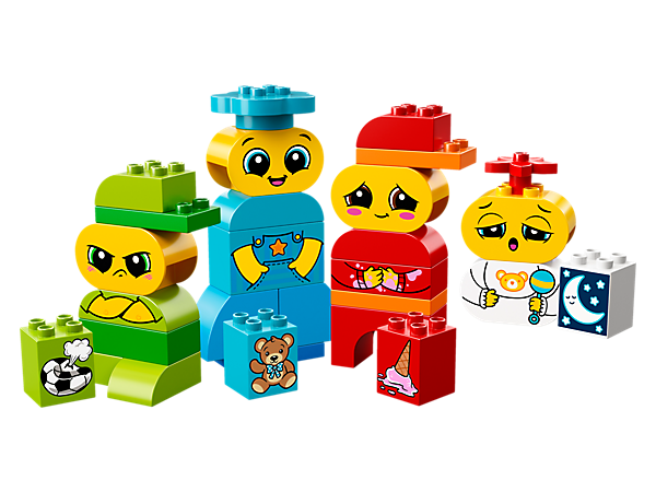 Create role-play stories with your preschooler as they learn about feelings and expressions, with these 4 buildable characters with double-sided faces and story bricks.